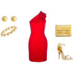 red gold dress formal dressy fancy feminine pretty fashion style outfit ootd polyvore