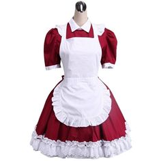 AvaLolita Red and White French Maid Cosplay Lolita Dress ($82) ❤ liked on Polyvore featuring dresses