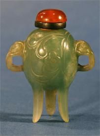 Antique Chinese Ding Tripod Shape Green Jade Stone Snuff Bottle with  a red agate stopper.
