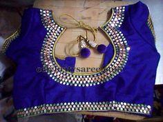 Blue mirror work blouse