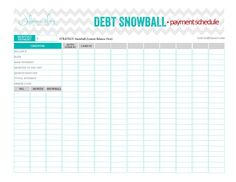 Debt Snowball payment schedule... beautiful and perfect worksheet that keeps you focused on being debt free.   www.GetCreditSmart.com