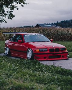 BMW E36 3 series red slammed wing