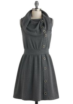 Tricks of the Trade Show Dress - Short, Grey, Solid, Buttons, Casual, A-line, Sleeveless, Cowl, Vintage Inspired, Work- inspiration- a maxi with this design