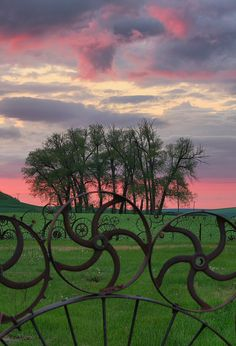 Love the fence. 'Sunset at Dahmen Farm.' photographed by yaknfish. Sunset shot through the Wheel Fence at the Dahman Barn in Uniontown, Washington. via flickr