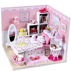 Mini-Villa Pink LED Light Princess Bedroom Model DIY Handmade Wooden Doll House - USD $ 19.99