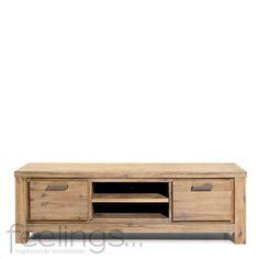 TV-meubel Chablis met 2 deuren en 2 open vakken. Vervaardigd uit massief acacia hout. Kleur snow white. Chablis is een compleet woonprogramm...