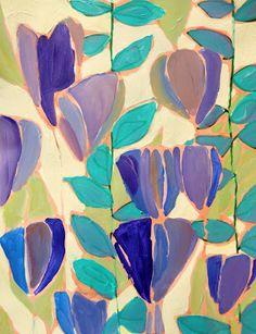 LULU DK painting. Floral purple blue aqua teal turquoise