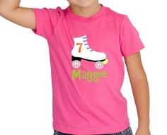 The perfect tee for the bithday girls roller skating themed birthday party! This adorable fuschia short sleeve tee is personalized with your