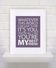 You're My Best Friend Queen Lyrics 11x14 Custom by KeepItFancy, $10.00
