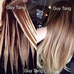 Good example on how and where to apply bleach to achieve a balayage-type ombré.