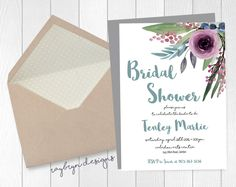 Watercolour Floral Bridal Shower Invitation - lilac and teal by RayBrynDesigns on Etsy