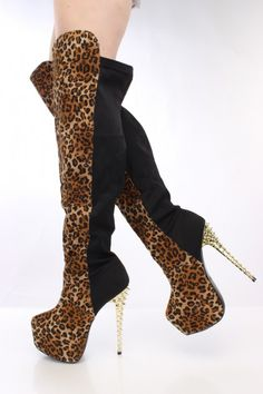 Leopard Print Faux Suede Two Tone Thigh High Boots