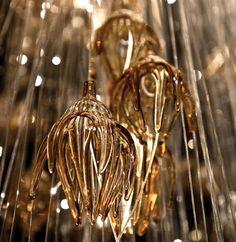 Sharon Marston - Amber hand-blown glass chandelier