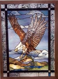 Stained Glass Bald Eagle Landscape