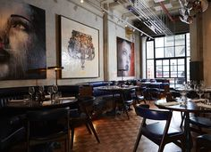 Union Street Café — London. For paneled room inspiration - booths and large art