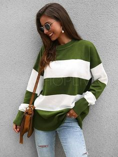 Material : PolyesterSleeve Length : Long SleeveSleeve Type : Regular Sleeve Collar : Round NeckSilhouette : Loose Size Chart Size Bust Length Sleeve Length S M L XL Loose Sweater, Long Sleeve Sweater, Plus Size Sweaters, White Casual, Striped Knit, Sweater Fashion, Types Of Sleeves, Pullover, Fit