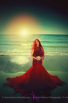 "Calm after the storm...... Red dress, dream, storm Model: Olga  Dress ""Scarlet Sails"" by Anna Kotlova"