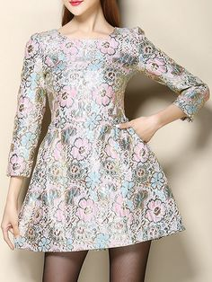 Pink Floral Long Sleeve Jacquard Dress Dresses #Tops #Swimwear #Jeans #Jackets #Skirts #Shoes