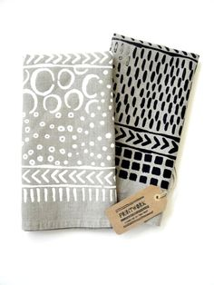 Natural Linen Tea Towel with Playful Pattern - Printwork by Toni Point - $13.99 - domino.com