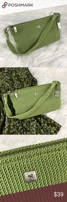 """Lina  Green Bag NWOT Beautiful green knit bag with silver hardware. This is the perfect summer bag.  📐Measurements & Information 📐  9""""W x 6""""H x 3""""W Drop length approx 8.5"""" Fu floral blue and green lining Interior zip pocket Interior 2 slip pockets Zippered closure Lina Bags"""