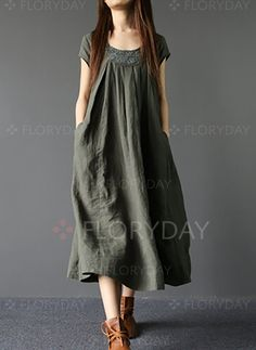 Summer dress, Loose Fitting dress, Khaki Tunic Dress, blue linen dress, Layered Linen Dress Summer Loose Fitting Long Maxi Dress Women Long Dress in Army Dress Outfits, Casual Dresses, Short Sleeve Dresses, Summer Dresses, Summer Maxi, Summer Wear, Vestido Casual, Linen Dresses, Floryday Dresses