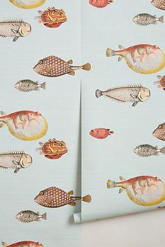 powder room wall paper.   Aquario Wallpaper - anthropologie.com