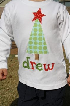 Personalized Christmas Shirt  Tree with Star by roundthebendagain, $27.00