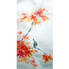 Ella Saridi - Sparrow on Maple branch Japanese Ink Painting by Suibokuga on Etsy