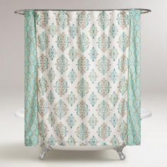 Trimmed with rope detail, our medallion and contrast ogee print curtain lends a soothing element to your bathroom decor in aqua, taupe and blue. Decor, Farmhouse Shower Curtain, Rv Curtains, Shower Curtain, Drapes Curtains, Curtains, Bathroom Paint Colors, Bathroom Decor, Farmhouse Shower