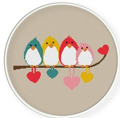 Birds couples ,Cross stitch pattern CrossStitchPDFbirds couples by danceneedle, $4.00