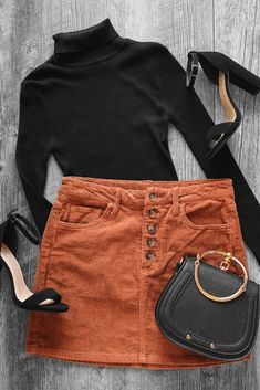Apr 2020 - Gorgeous tan corduroy skirt outfit with a black turtleneck and black heels. Super cute outfit or the perfect idea! Look cute and be extra comfy this year with this buttoned corduroy skirt that comes in multiple colors! Casual Winter Outfits, Cute Casual Outfits, Stylish Outfits, New Outfits, Stylish Clothes, Casual Chic, Heels Outfits, Fashion Outfits, Black Heels Outfit