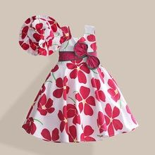 Spring Floral Print Kids Dress with Cap Cute Bow Tie Sleeveless Cotton Lining Party Wedding Girls Dress Fashion Princess Fashion Kids, Toddler Fashion, Girl Fashion, Dress Fashion, Wedding Dresses For Girls, Dresses Kids Girl, Kids Outfits, Floral Dress Outfits, Toddler Girl Style