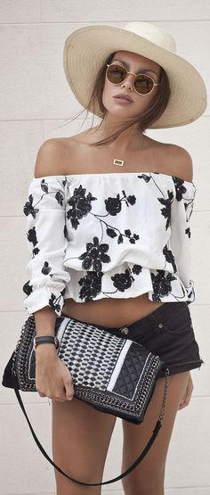 Off Shoulder Black Floral Crop Top