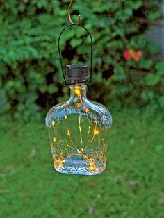 Solar Lantern - Solar Bottle Lantern Kit - Wine Bottle Lights - booze bottle art /painting - Solar Lantern Kit Transforms Your Bottle into an Charming Accent Light The Effective Pictures We Of - Garden Lanterns, Solar Lanterns, Solar Lights, Lighting Your Garden, Backyard Lighting, Outdoor Lighting, Landscape Lighting, Outdoor Fairy Lights, Outdoor Lantern