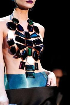 Jewelry and dress combination by Armani Prive, looks like the potion lady in Death Becomes Her.