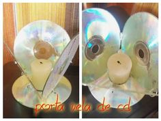 Portavela de CD reciclado. - YouTube