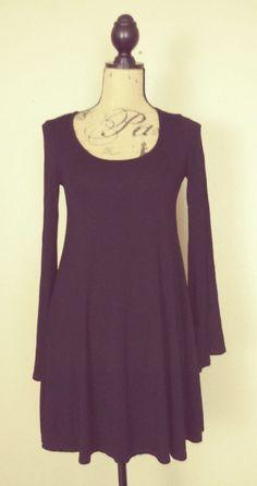 Wet Seal Women's Black Stretch Rayon Mini Dress Bell Sleeves sz S #Wetseal #StretchBodycon #ClubwearCocktailFestive
