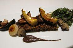 herbed farro. acorn squash. turnips. cremini.cipollini. baby kale. olive-tarragon puree.