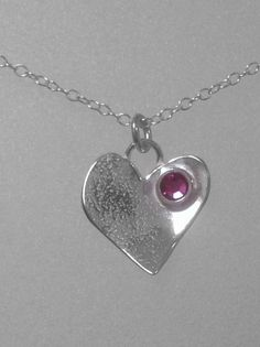 Valentines's Gift -Textured Silver Heart Pendant with Swarovski Crystal, P118 £25.00