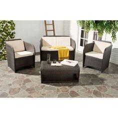 Safavieh Caprina Brown 4-Piece Outdoor Patio Conversation Set with Beige Cushions