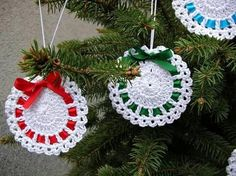 Best 11 Crochet tree, for Christmas decorations, set of 6 tree decorations, wonderful for your Christmas tree. If you want they can be – SkillOfKing. Crochet Christmas Wreath, Crochet Wreath, Crochet Christmas Decorations, Crochet Decoration, Crochet Ornaments, Holiday Crochet, Christmas Bells, Crochet Crafts, Hand Crochet