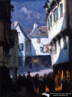 Street, Monlight, Mont-saint-michel Artwork By Clarence Gagnon Oil Painting & Art Prints On Canvas For Sale Canadian Painters, Canadian Artists, Nocturne, Clarence Gagnon, Le Mont St Michel, Landscape Paintings, Impressionist Paintings, Art Paintings, Painting Art
