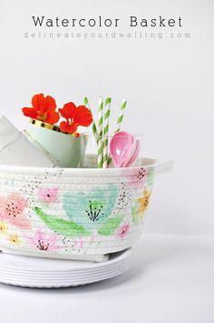 Easy DIY Watercolor Basket