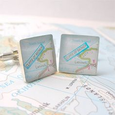 Custom Sterling Silver Antique Map Cufflinks
