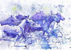 Horses in water  watercolor wildlife herd  wall decor  by ValrArt