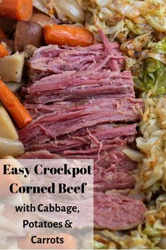 Crockpot Corned Beef and Cabbage Dinner – Wine a Little, Cook a Lot A traditional St. Paddy's Day recipe, this crockpot corned beef and cabbage dinner is easy and flavorful. Made with beer, potatoes, carrots and onions it's the best corned beef recipe! Corned Beef Brisket, Cooking Corned Beef, Corned Beef Crockpot, Corned Beef Boiled, Corned Beef Seasoning, Pressure Cooker Corned Beef, Potatoes Crockpot, Cabbage And Potatoes, Corn Beef And Cabbage