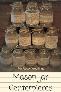Burlap mason jar wedding centerpieces, for rustic or country wedding ceremonies #affiliate