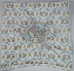 Blankets & Beyond Mod Elephant Blue Gray Green White Baby NuNu Lovey Blanket #BlanketsBeyond