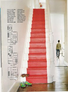Choosing a Stair Runner: Some Inspiration and Lessons Learned - Lorri Dyner Design Painted Staircases, Painted Stairs, Wooden Stairs, Paint Runner, Painted Wood Floors, Basement Stairs, Garage Stairs, Entryway Stairs, Awesome