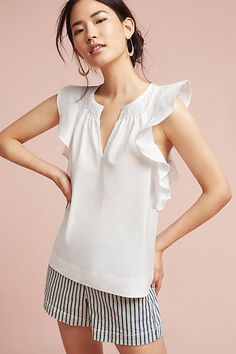 Anthropologie on sale - avail in white, canary & navy. HD in Paris Ruffled Poplin Blouse